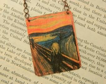 Art necklace The Scream art mixed media jewelry Edvard Munch