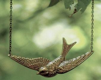 Bird in Flight Necklace- Brass