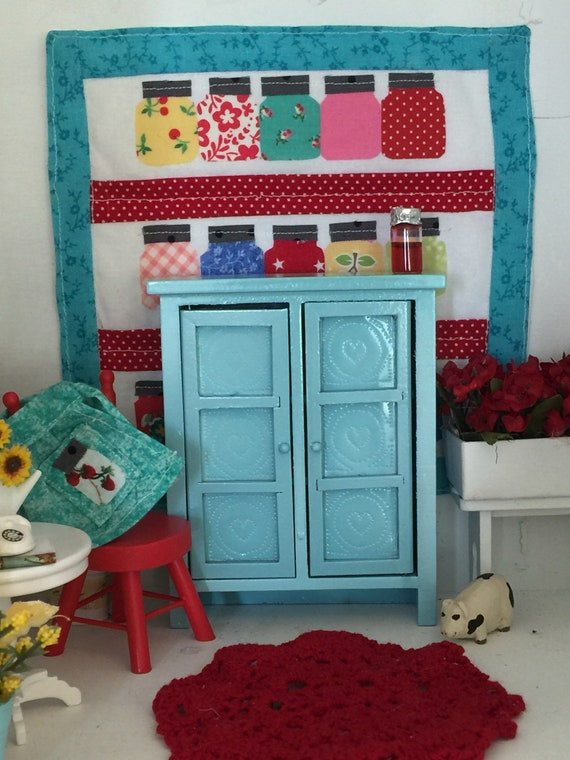 Miniatures Dollhouse Aqua Pie Safe Hutch -1:12 scale