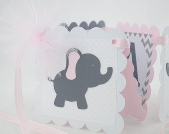 Elephant Name Banner, Birthday Party,  Baby shower Banner, Pale Pink Elephant , Welcome Baby Banner, Grey and Pale Pink Banner, Girl Banner