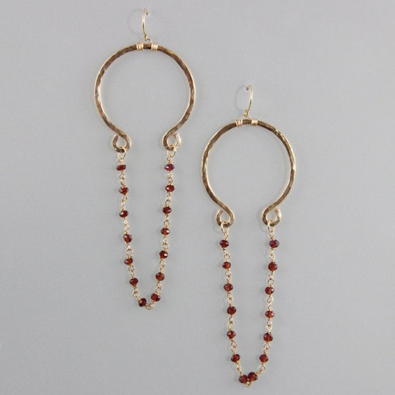 Hammered Omega earrings with gemstone chain