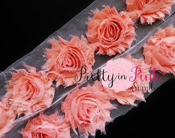 PEACH Shabby Rose Trim - Shabby Chiffon Rosettes - 1/2 Yard or 1 Yard - Shabby Flower Trim - Wholesale Shabby Flower - Chiffon Flower