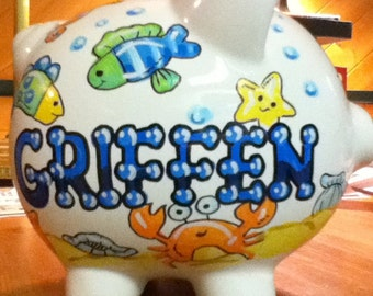 Personalized Piggy Bank Green and Blue Fish