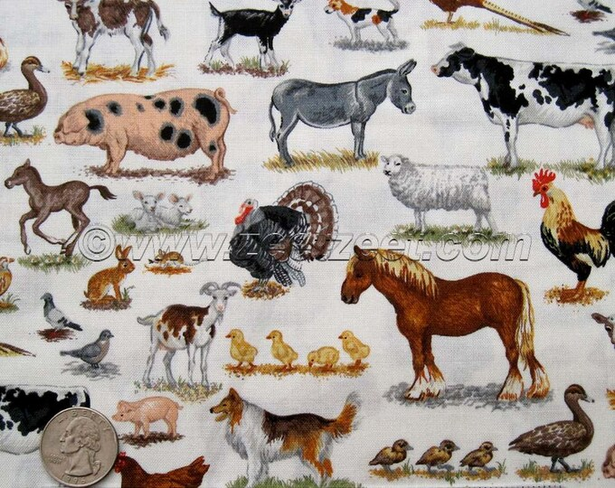 FARM ANIMALS Cream Cotton Quilt Fabric by the Yard, Half Yard, or Fat Quarter Fq Andover Fabrics Horse Cat Dog Cow Lamb Pig Barnyard Donkey