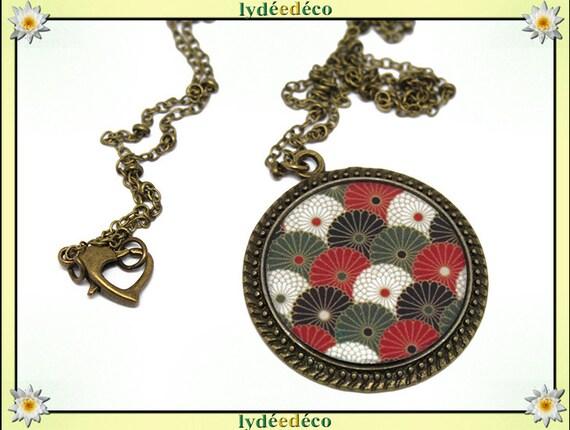 Retro necklace resin bronze plated brass fan Japan Green Khaki red black white 32mm heart mother's day birthday gift custom