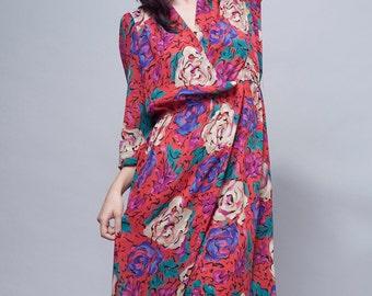 floral dress, pink day dress, vintage 70s secretary dress midi pink rose colorful faux wrap elastic waist L Large