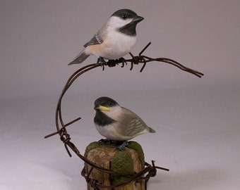 Pair of Chickadee Hand Carved Wooden Bird on barbed wire