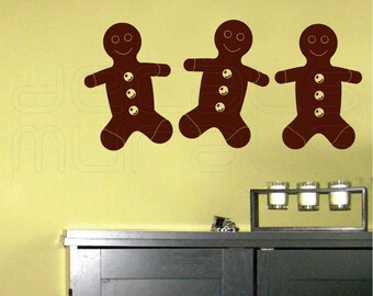 Wall decals GINGERBREAD MAN  Holidays Christmas interior decor by Decals Murals Set of 3 (Small)