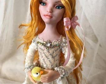 ooak art doll fairy Golden Bird