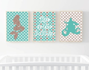 Disney Little Mermaid Princess - Set of three prints -  Nursery Set - Gift - Gold - Baby Gift - Adult gift - Animation