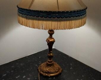 Art nouveau lamp etsy beautiful art nouveau louis vx style bronze table light lamp with satin lamp shade aloadofball Images