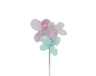 Stella Flower lapel pin (F/W 2017) Light Pink, Dark Pink and Light blue