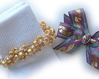 Kathy's Beaded Socks - Turquoise and Gold Feathers Socks and Hairbow, holiday socks, pony bead socks, gold socks, pearl socks, feather socks