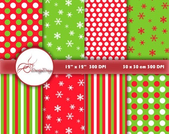Christmas Digital Paper Pack, red and green, christmas paper, scrapbook pages, scrapbook papers christmas, instant download