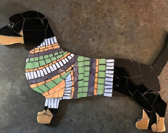 Stained Glass Mosaic Dachshund Wall Hanging