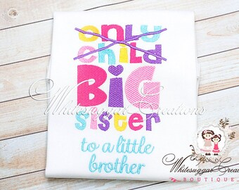 Big Sister Embroidery Shirt - Big Sister Birth announcement, New Baby Arrival, Hospital Outfit, Big Sister Shirt, New Baby Announcement