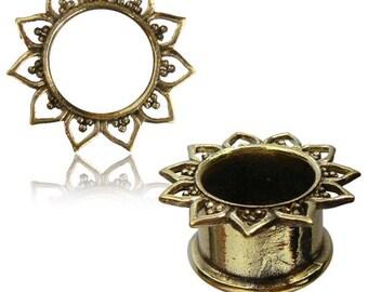 Tribal Ear tunnels gold tone brass, boho body jewelry, ear plugs, gauge earrings 0G stretchers 12mm brass 00G 1/2 6G 2G 6mm 8mm 10mm PL15