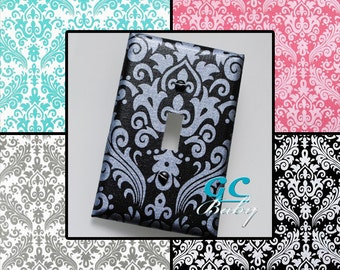Shimmer Damask Light Switch and Outlet Covers - 4 Colors with a Silvery or Pearlescent Print - Rocker, Decorator, Toggle, Pole, Duplex, Plug