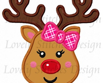 Christmas Reindeer Girl-01 Applique Machine Embroidery Design NO:0280