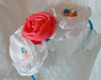 Coral and Turquoise Floral Rosette Headband