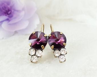 Amethyst Earrings ~ Purple Crystal Dangle Earrings ~ Dark Purple Earrings ~ Rhinestone Cluster Earrings ~ Swarovski Crystal Jewelry E3943