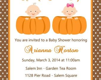 Pumpkin Baby Shower Twins Invitation - (Digital File) - Twin Baby Shower Invitation - Twin Pumpkins Baby Shower