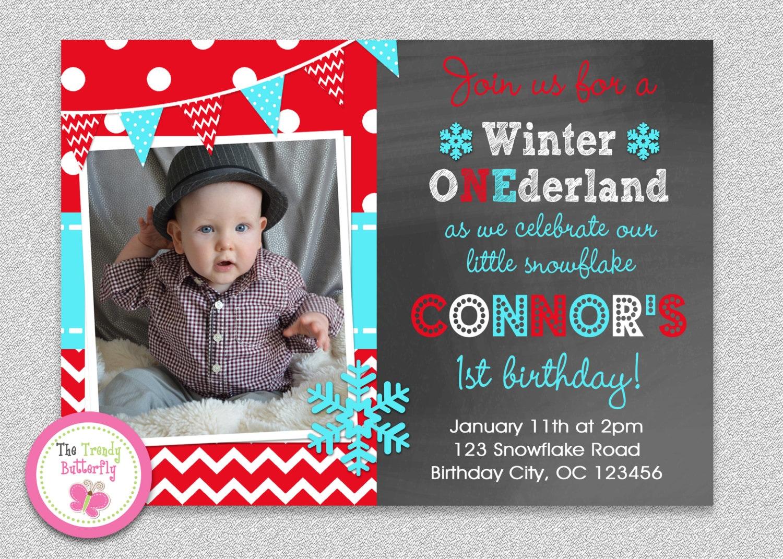 Winter Wonderland Invitation Snowflake Invitation Birthday