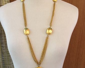 Vintage 60s Gold Egyptian Revival Multi Stand Chain Necklace with Scarab Beetles