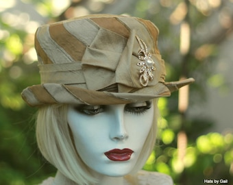 Victorian Hat, Edwardian Hat,Downton Abbey Hat,Dressy Hat, Riding Hat,Bucket Hat,Mother of the Bride Hat, Hat for Wedding,Formal Hat,Top Hat