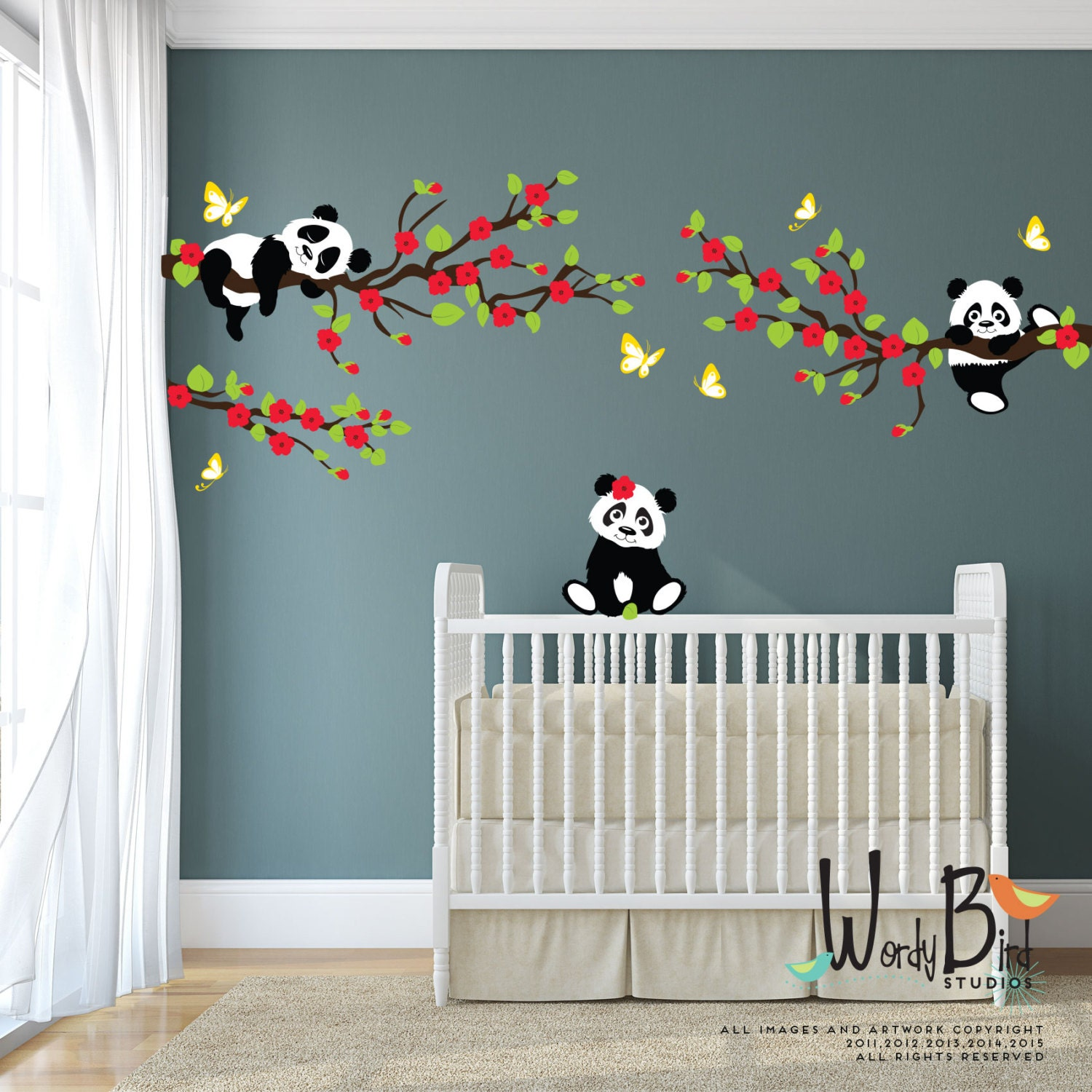 Panda wall decals tree wall decals with cherry blossom zoom amipublicfo Choice Image