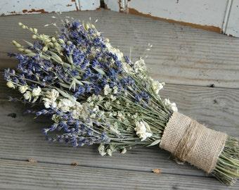 Bridal Bouquet / Dried Lavender Bouquet / Dried Flower Bouquet / Wedding Flowers