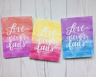 1 Corinthians 13 | Love never fails | Love | Engagement | Wedding | Anniversary | Christian Greeting Card