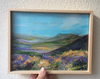 Original painting, landscape painting, colorful, mini painting, tiny art, contemporary art, gift for her, christmas gift, mountains, framed
