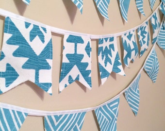 Turquoise Buntings- 3 strand bunting Turquoise Garland Turquoise Banner FREE US SHIPPING