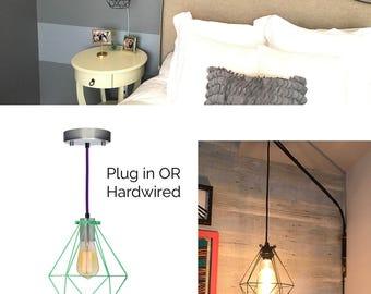 Elegant Plug In Bedside Pendant Light Diamond Cage Modern Pendant Light Fixture  Hanging Bedroom Lamp Black Geometric