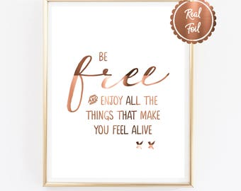 copper wall art // copper foil print // be free // quote prints // inspirational quote // wanderlust // travel prints / poster // copper art