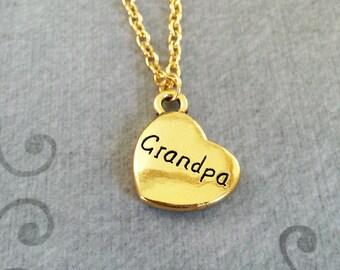 Grandpa Necklace SMALL Grandpa Jewelry Grandfather Necklace Grand Daughter Jewelry Grandpa Heart Necklace Gold Pendant Charm Granddaughter
