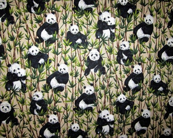 PANDAS In  BAMBOO FOREST Cotton Fabric 1+ Yards