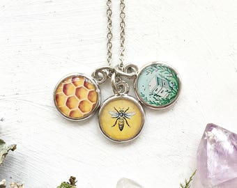 Three Bee Charm Necklace