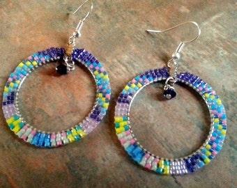 Lovely Pastel Colored Beaded Hoop Earrings