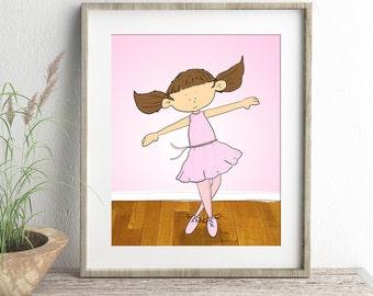 Ballerina wall art, Ballerina Drawing, Girls room decor, Childrens prints, Little girl dancing, Children's Illustration, kids room, A4 Print