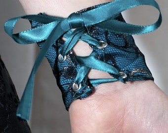Airship Pirate Cuffs - Turquoise and Black Lace - Victorian Steampunk