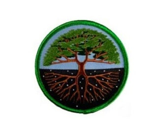 """Tree of Life Patch - 3"""" Round patch, Iron-on patch, Sew-on applique, Wiccan pagan, Embroidered patch, Tree patch, Nature applique"""