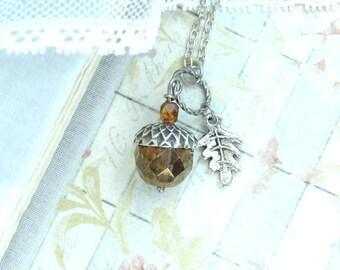 Acorn Pendant Necklace Acorn Jewelry Forest Necklace Autumn Jewelry Fall Necklace Woodland Jewelry
