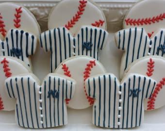 Yankees Sugar Cookies, baseball sugar cookies, major league cookies, sports team cookies