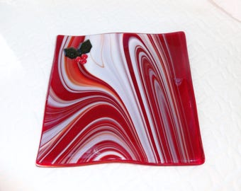 Red Holiday Dish, Fused Glass Holly Plate, Fused Glass Dish, Red Candy Dish, Pillar Candle Holder, Red Dish, Candy Cane