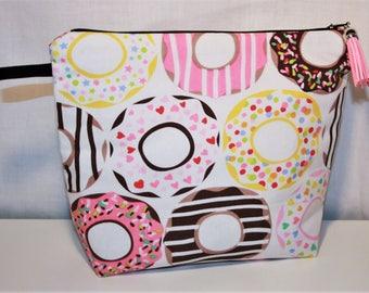 Toiletry bag zippered fleece cotton delicious Donuts!
