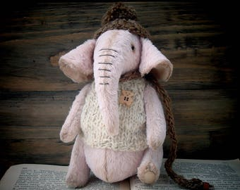 The Elephant Teddy's Friend Handmade Stuffed Animal OOAK Collectible toy
