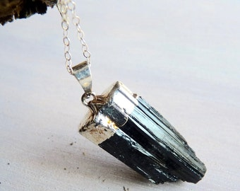 Jet Black Tourmaline Crystal Silver Electroplated Pendant Necklace. Gifts for Her. bridesmaids gifts