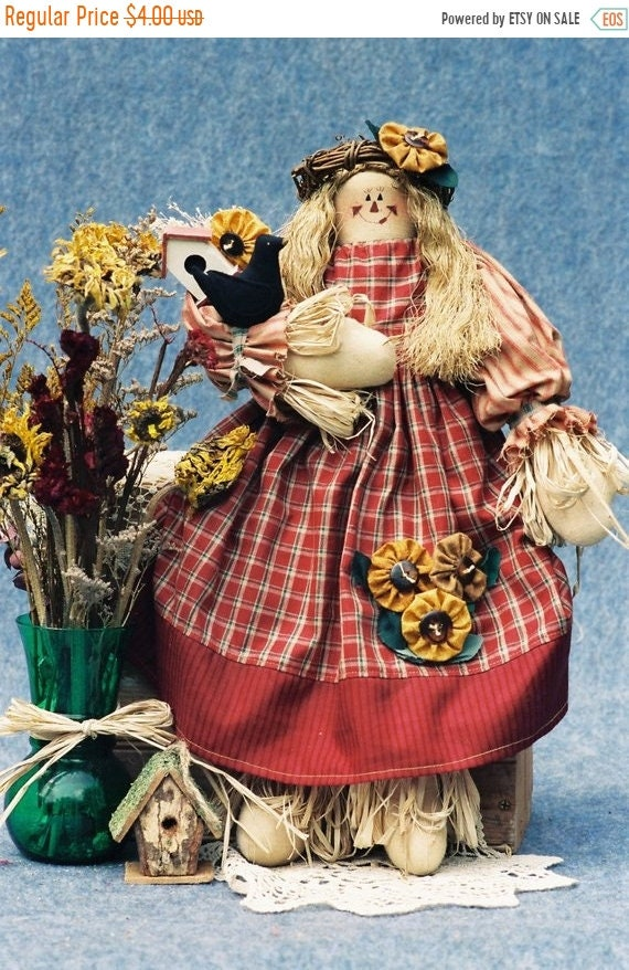 ON SALE Sunflower - Mailed Cloth Doll Pattern Country girl Scarecrow